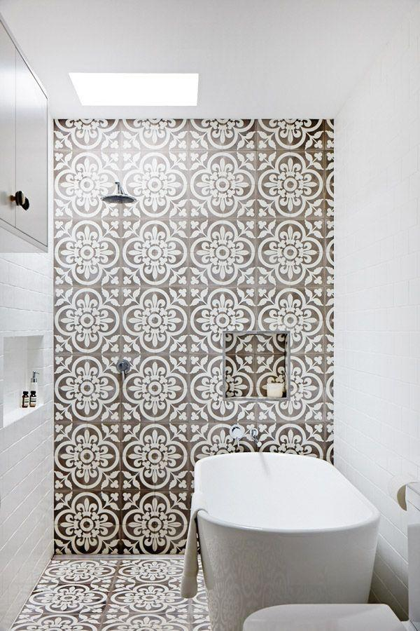 Modern tiles to add color to the bathroom.