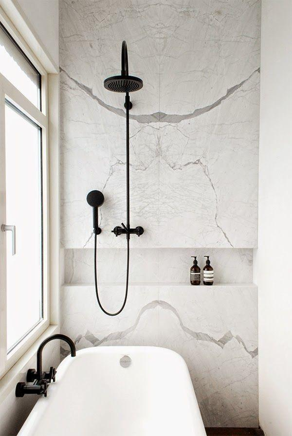 Marble niche brings modernity to the space.