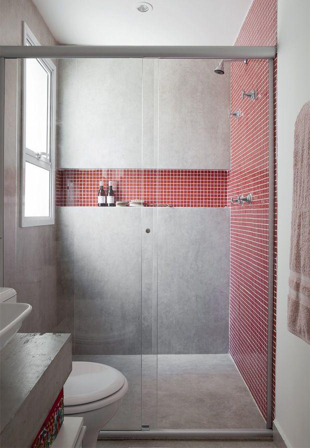 Gray and red bathroom!
