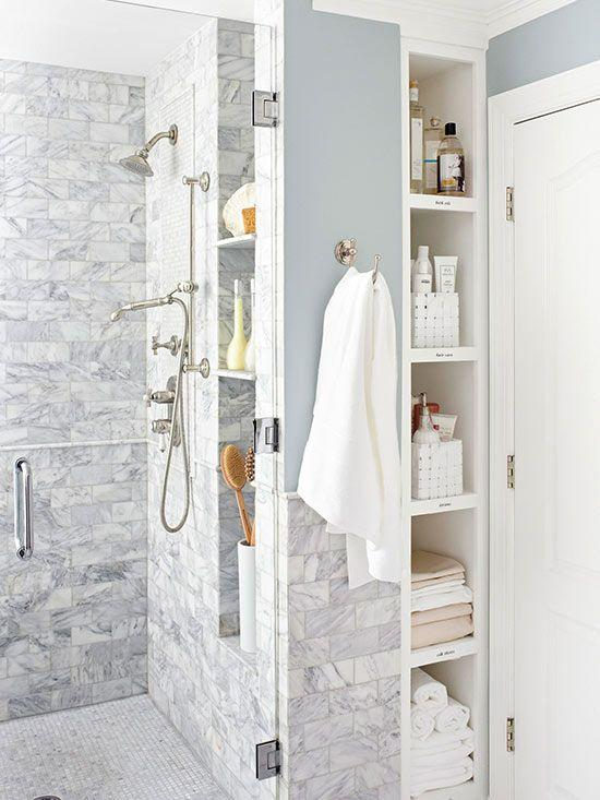 A functional corner for the bathroom.
