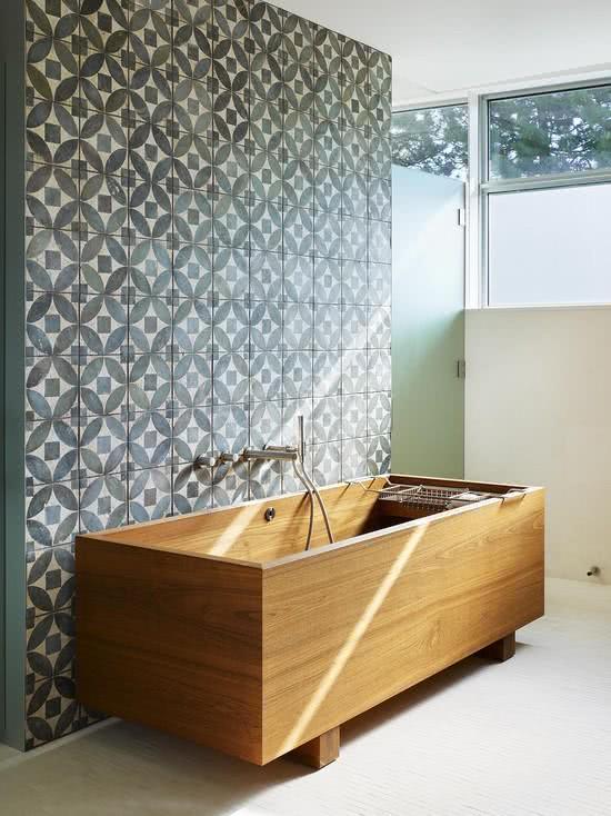 Bathroom with wooden bathtub