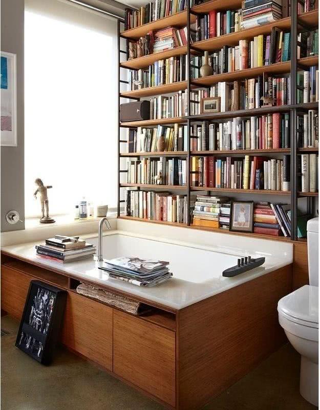 Bathtub with bookcase