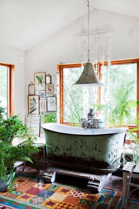 Bathtub with earth and bush texture