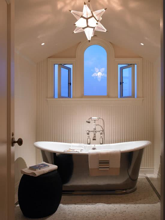 White bathtub with stainless steel coating
