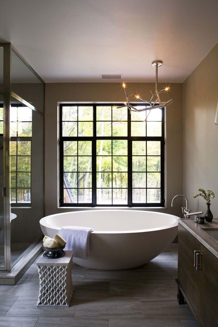 Large white circular bathtub