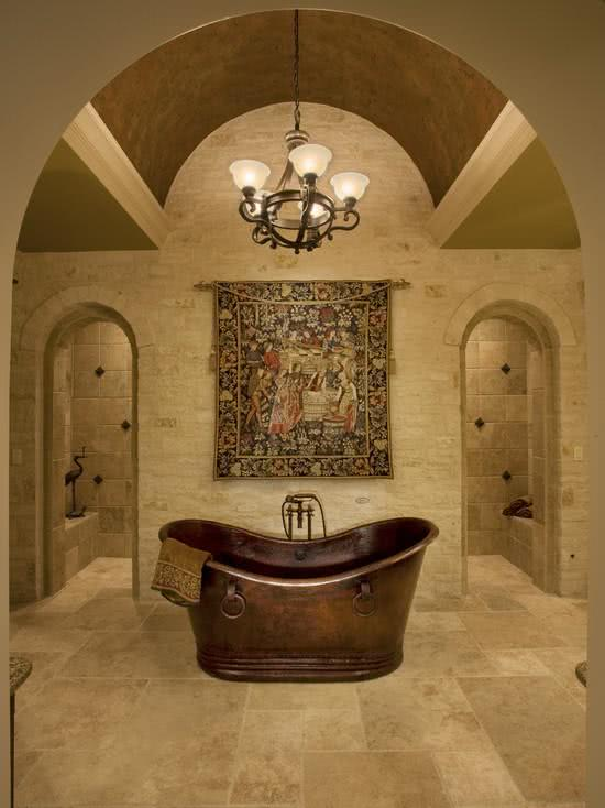 Rustic copper bathtub