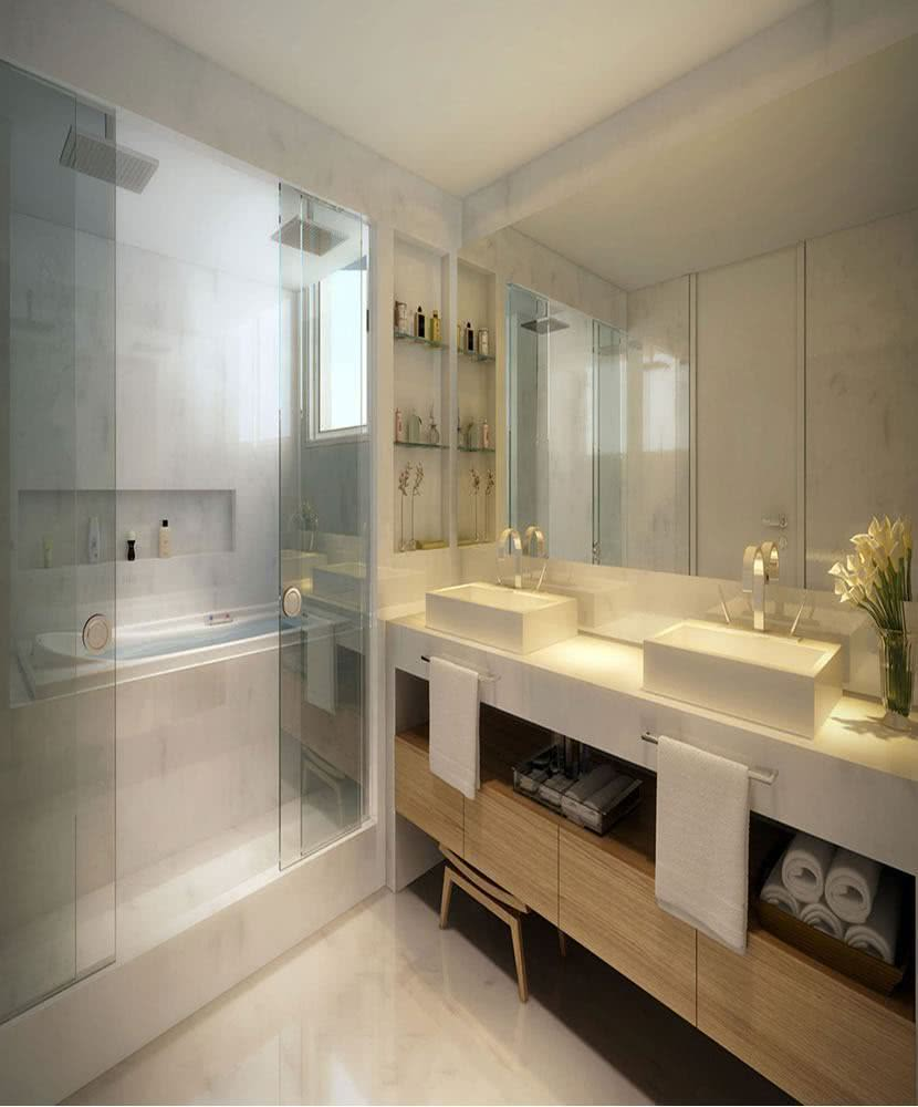 Sharing the shower with the bathtub is a good alternative for those who want to put this item in the bathroom
