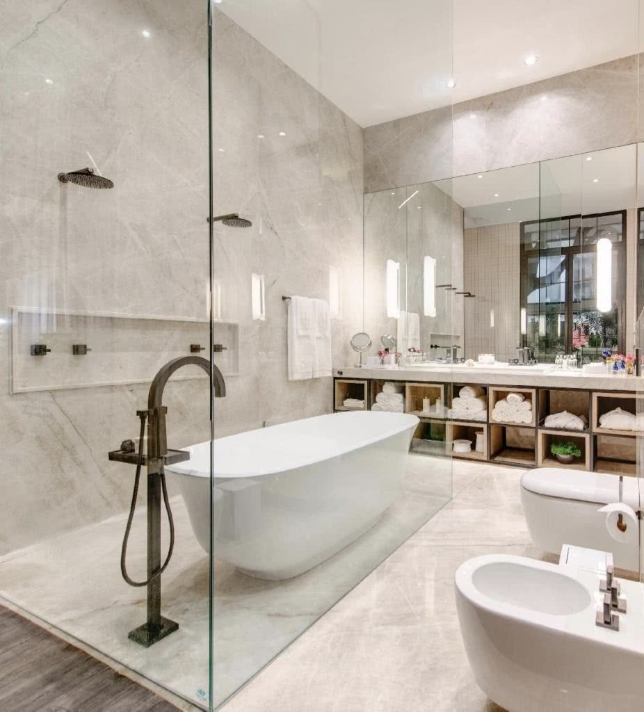 Bathroom with two showers