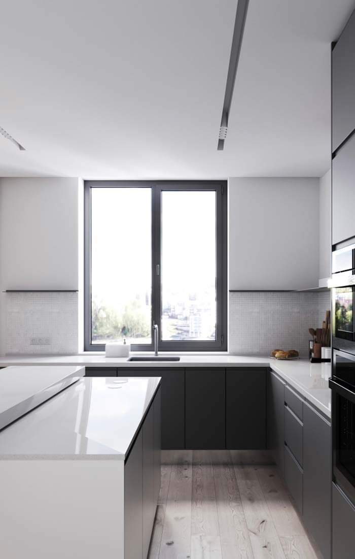 Modern kitchen with plaster lowering