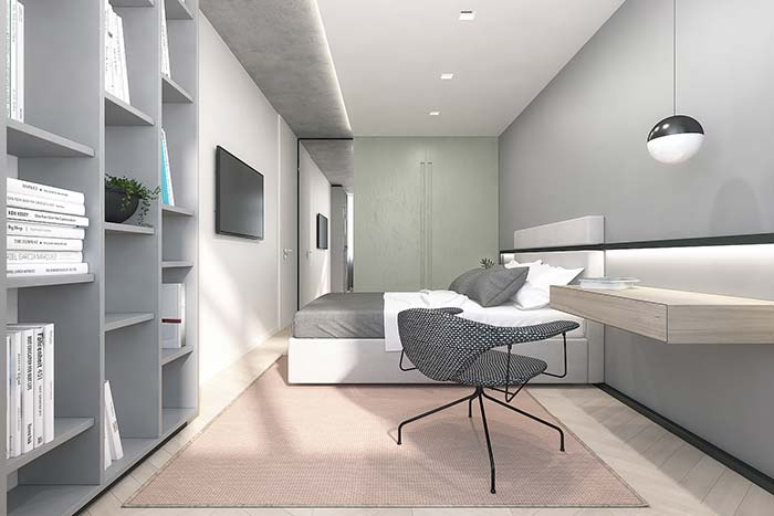 Indirect lighting enhances the texture of the gray ceiling