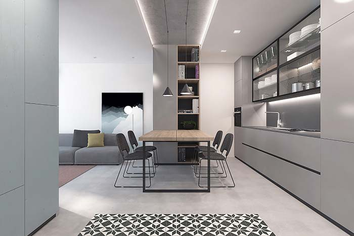 Lowered ceiling marks division between environments