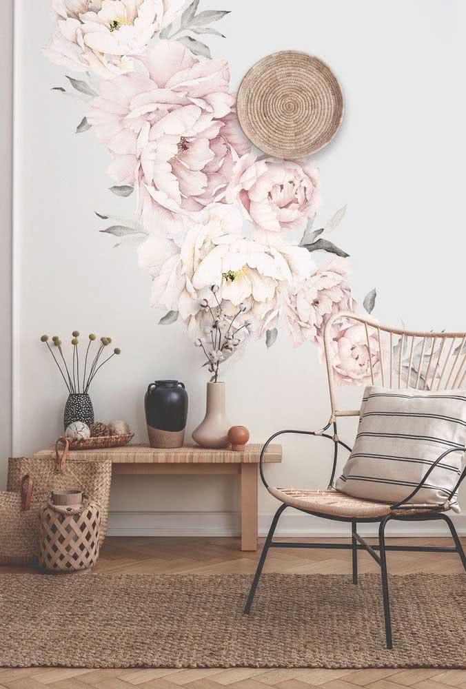 Giant peonies on wallpaper