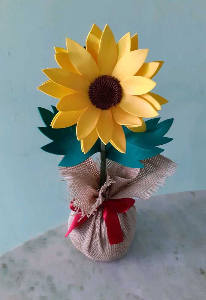How about a door weight made with EVA sunflower?  The jute fabric was perfect with the flower