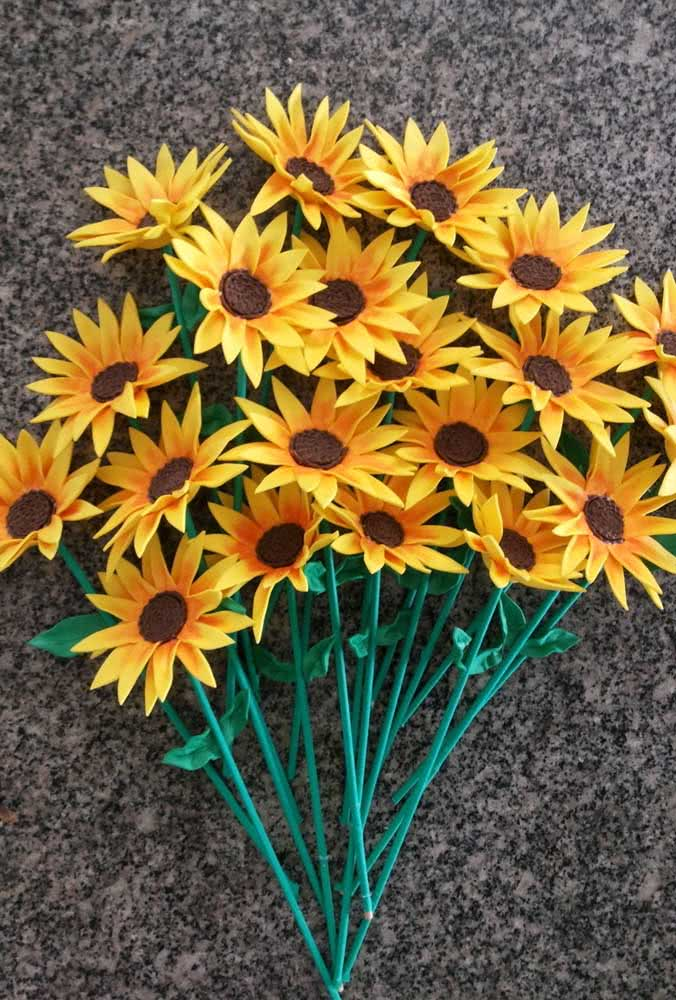 A delicate and realistic bouquet of EVA sunflowers.  Stalks can be made with barbecue sticks