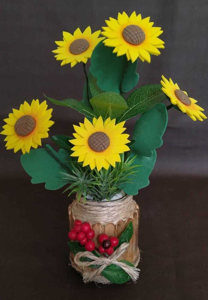 A rustic vase to match the EVA sunflower blossoms