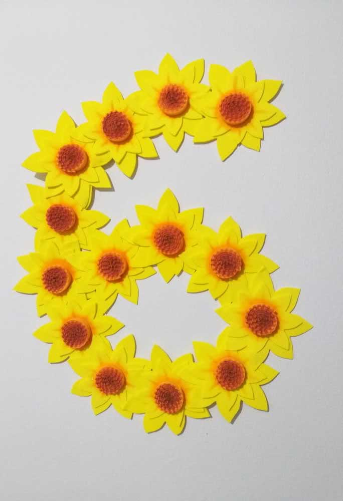 Look what a good idea: form numbers or letters with EVA sunflower blossoms