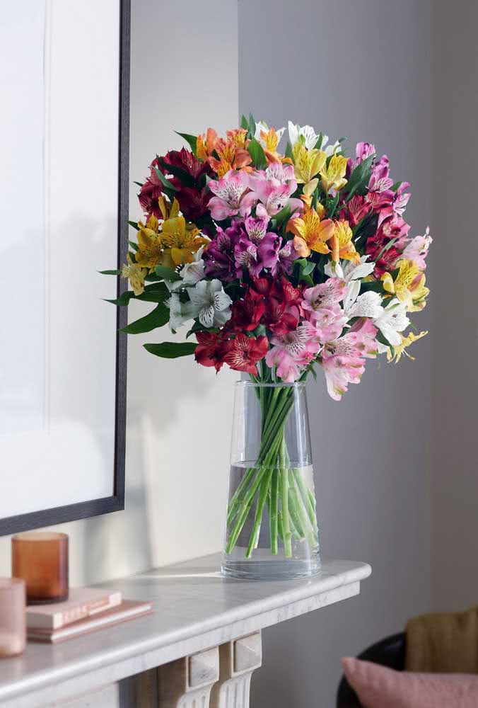 Super colorful Astromelia arrangement to brighten the lobby