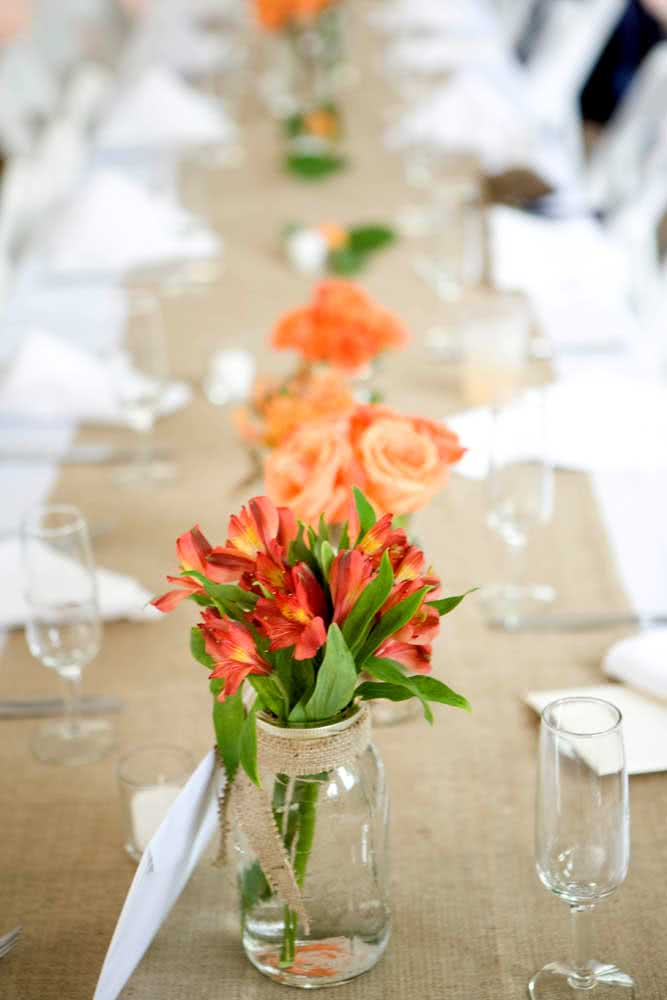 Red astromelia for table decoration