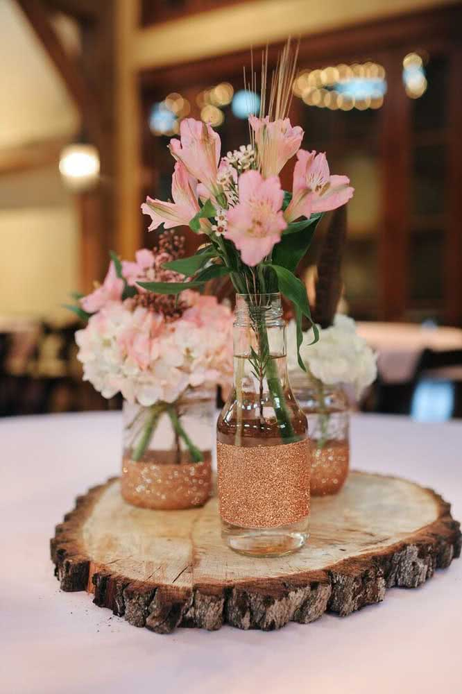 Astromelia for party decoration.  Use glass and jute pots to ensure a rustic look to the ornament