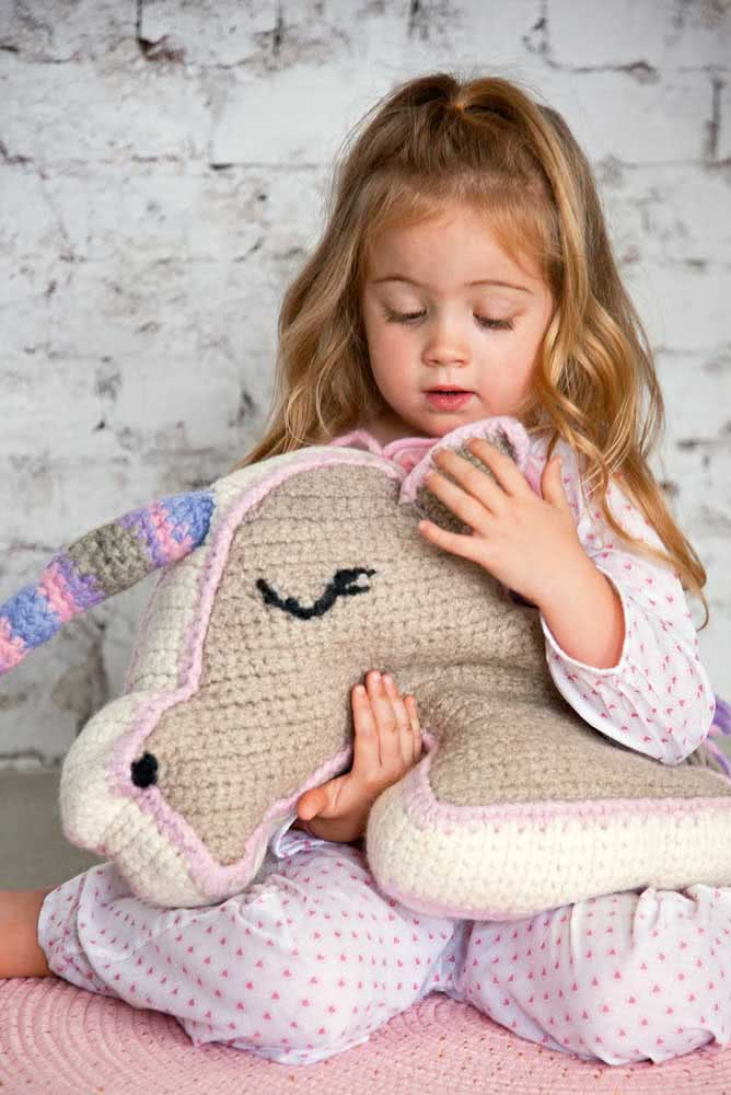Crochet unicorn to hug and sleep together
