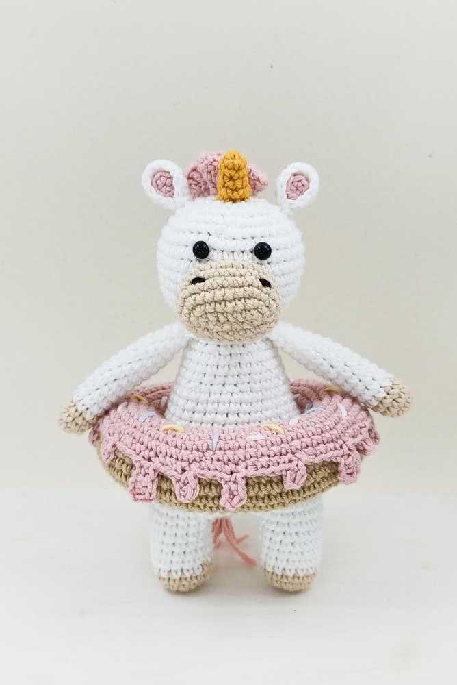 Here, the crochet unicorn is also a ballerina