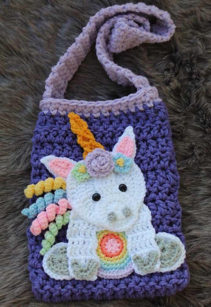 Crochet unicorn purse for you to run around stylishly