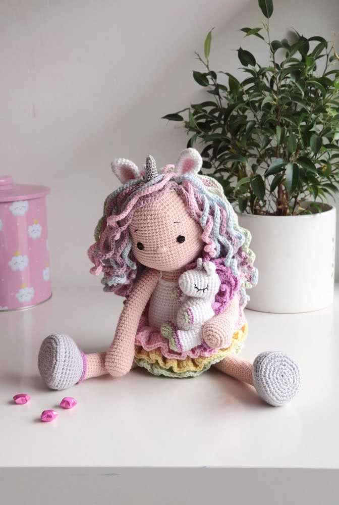 The little girl and her unicorn.  A beautiful representation of the children's universe