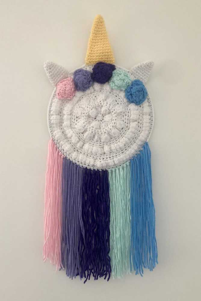 A mix of crochet unicorn with macrame and dream filter