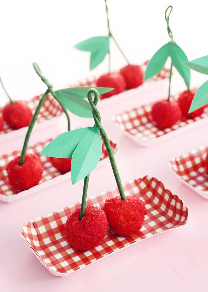 It looks like cherry, but it isn't!  Brigadiers and kisses can take the shape of fruit