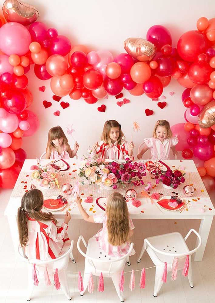 Children's table set for cherry party