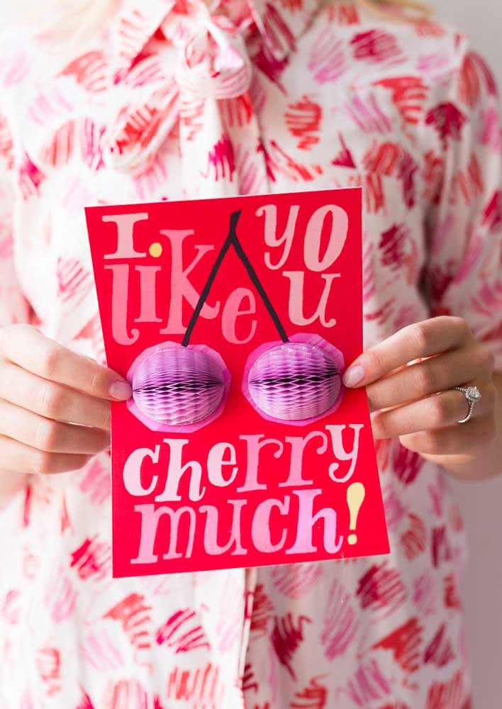 Here, the cherry party invitation is in 3D