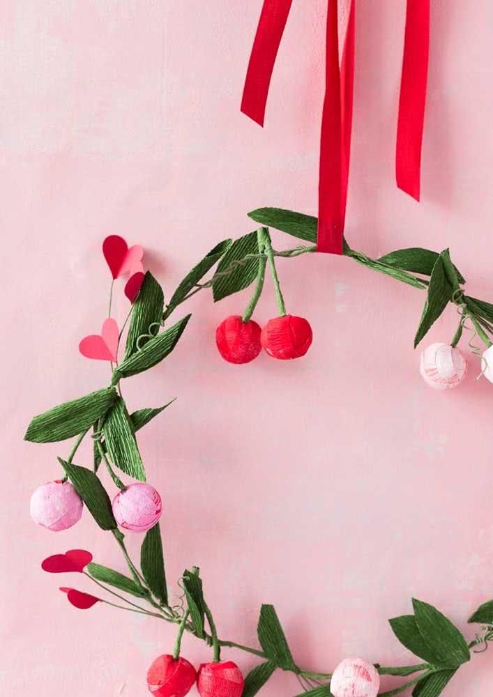 Paper cherry wreath