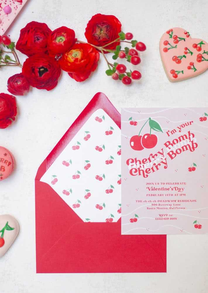 Red envelope to match the invitation